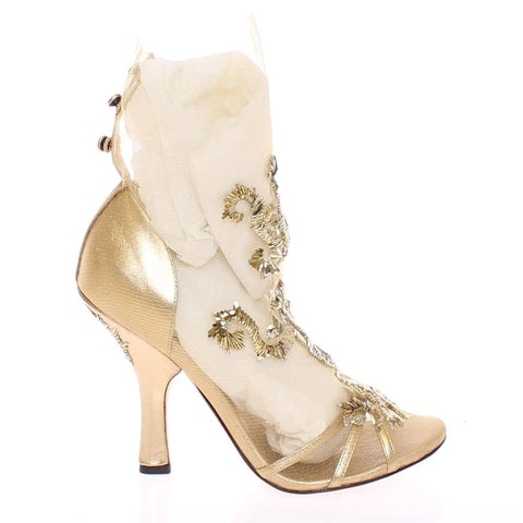 Dolce & Gabbana Gold Baroque Leather Pumps Booties Shoes - 40