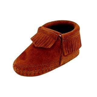 Minnetonka Boots Boys Riley Soft Suede Deerskin Leather Brown