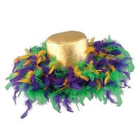 Pack of 6 Green, Golden-Yellow and Purple Mardi Gras Feather Costume Party Hats - Multi