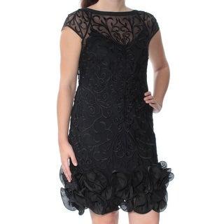 Womens Black Cap Sleeve Above The Knee Drop Waist Dress Size: 4