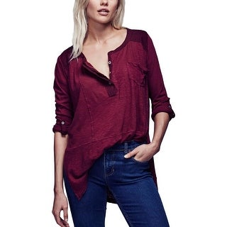Free People Womens Henley Top Slub Hi-Low