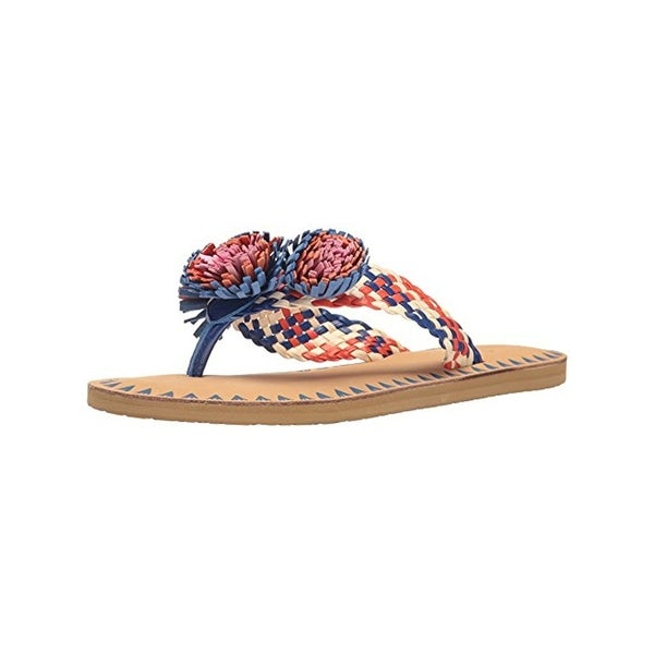 Kate Spade Womens Idette Thong Sandals Leather Pom Pom