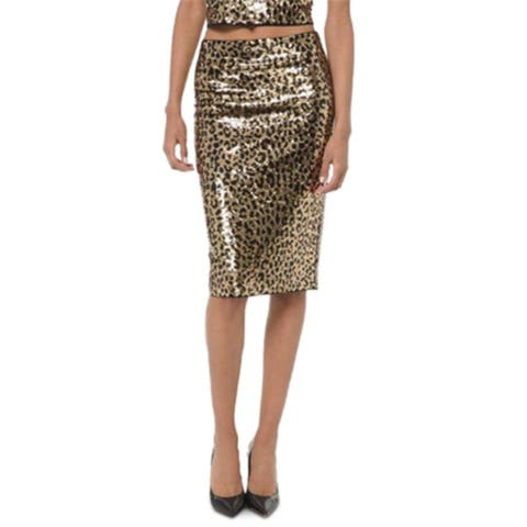 Michael Kors Women's Sequined Animal-Print Skirt Dark Camel Size Medium - Gold