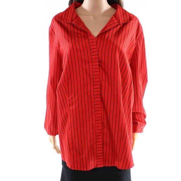 bd5d1c383905d4 Shop Foxcroft Red Women's Size 24W Plus Striped Button Down Shirt - On Sale  - Free Shipping On Orders Over $45 - Overstock - 27287036