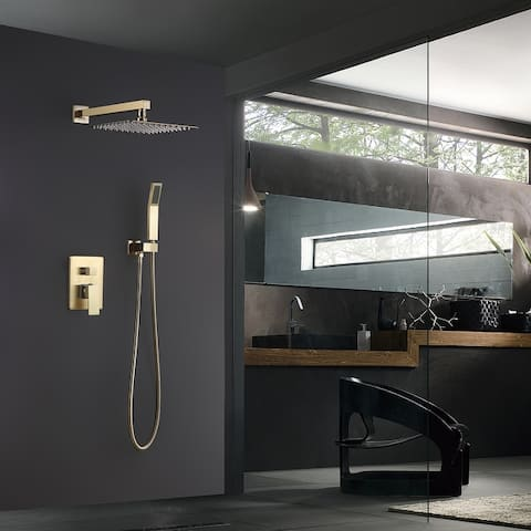 Wall-Mounted Bathroom Rain And Cold Shower Faucet With Inlet Valve Copper