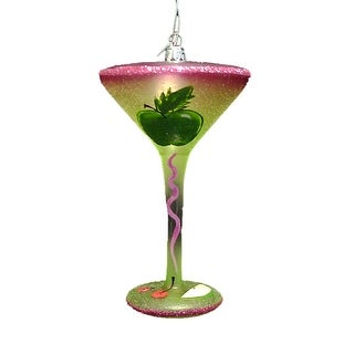 Happy Hour Blown Glass Happiness is an Apple Martini Cocktail Christmas Ornament