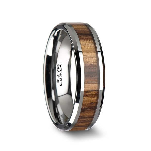 THORSTEN - PALMALETTO Tungsten Carbide Ring with Beveled Edges and Real Zebra Wood Inlay - 6mm