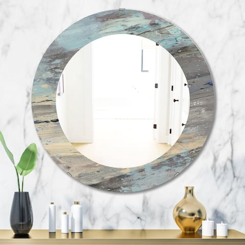 Designart 'Rock Teal Panel I' Modern Oval or Round Wall Mirror - Blue