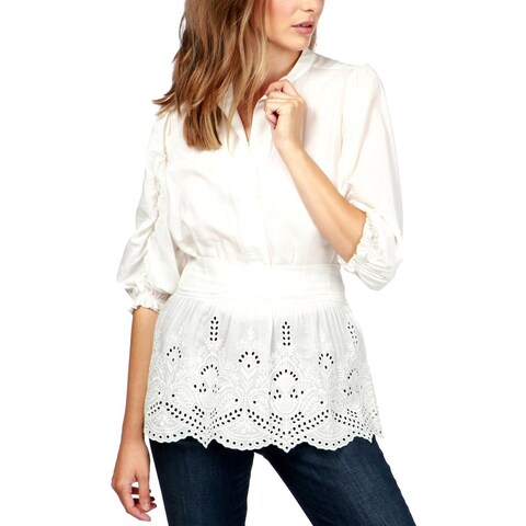 Lucky Brand Womens Schiffli Tunic Top Eyelet Ruched Sleeves - M