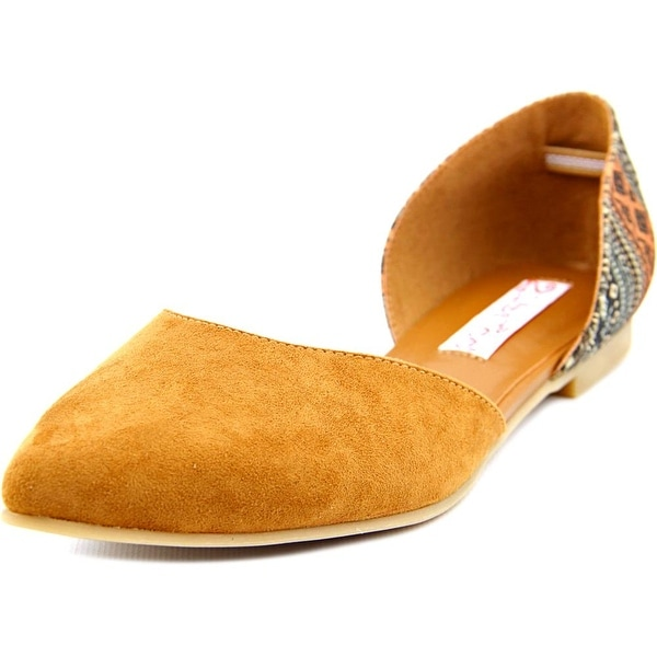 2 Lips Too Too Charlie Women Pointed Toe Canvas Tan Flats