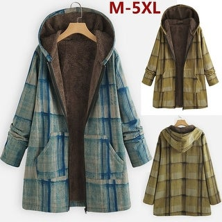 Fashion Women Winter Autumn Hooded Vintage Ethnic Plaid Print Zipper Fleece Coat
