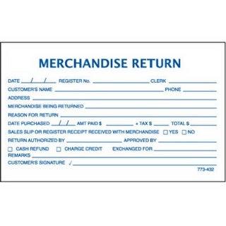 Centurion 773432 5.3 x 3.3 in. Merchandise Return Form - 100 ct.