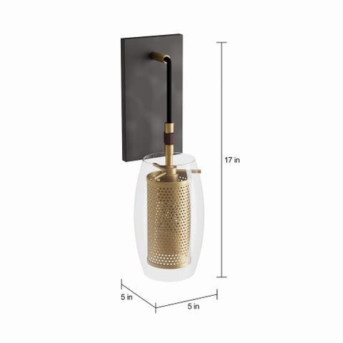Carson Carrington Skudeneshavn 1-light Warm Brass Sconce with Bronze Accents