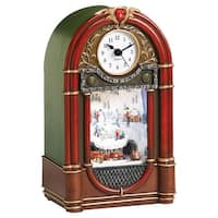 "9"" LED Vintage Radio Clock Winter Scene with Rotating Train Christmas Table Top Figure - green"