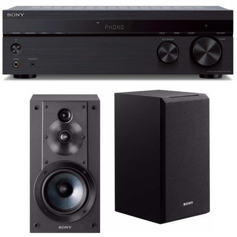 Sony 2 Channel Stereo Receiver with Sony 3-Way 3-Driver Speaker System Bundle - black