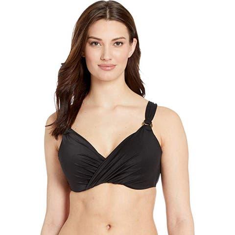 Miraclesuit Swimwear Solid Plunge Cup Underwire Bra Bikini Bathing, Black, 36DD