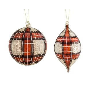 "Link to Set of 4 Red and White Decorative Glass Elegant Plaid Ornament 10.5"" Similar Items in Christmas Decorations"