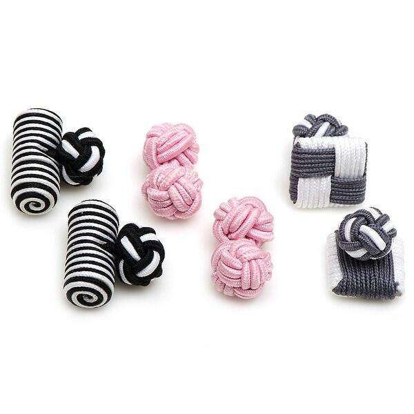 Flamingo Silk Knot Combo Cufflinks