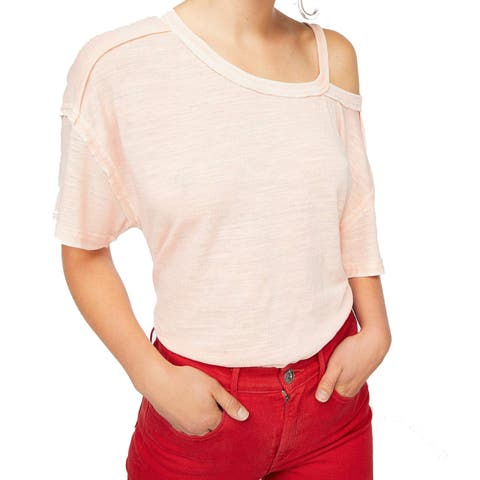 Free People Pink Women's Size Large L Cutout Short Sleeve Knit Top