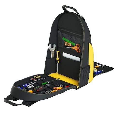 "Tool Backpack Heavy Duty Jobsite Tool Bag 48 Pockets - 15"" x 11"" x 22.5"" (L x W x H)"