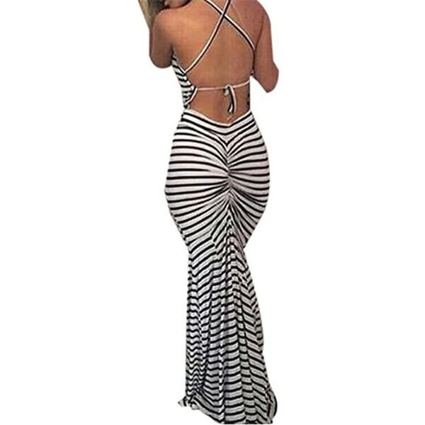 Shop Women S Hot Bodycon Backless Striped Long Maxi Dress