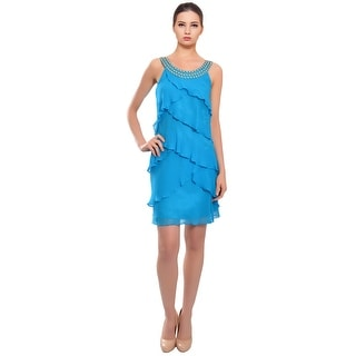 Laundry Tiered Silk Beaded Cocktail Evening Dress - 12