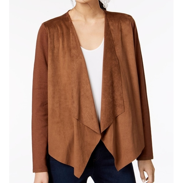 INC Brown Moleskin Cowgirl Womens Large L Draped Open-Front Jacket