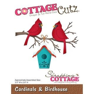 """CottageCutz Die-Cardinals & Birdhouse, 3.5'x2.8"""""""