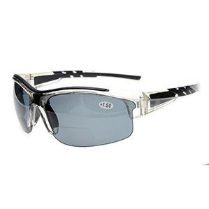 Eyekepper TR90 Unbreakable Sports Bifocal Half Rimless Sunglasses Clear Frame Grey Lens +1.0