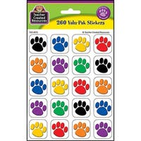 Colorful Paw Print Stickers Value Pack