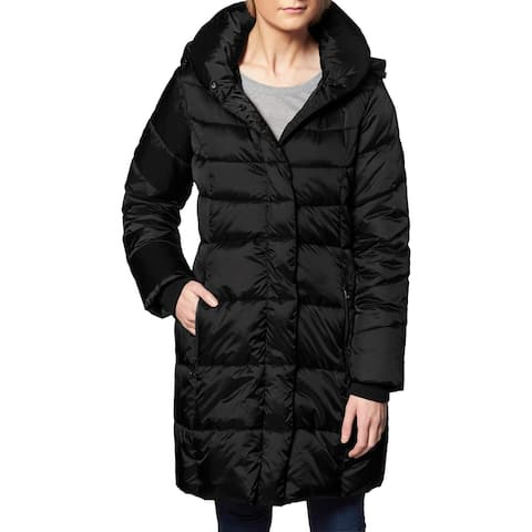 Steve Madden Puffer Coat for Women-Quilted Winter Jacket with Pillow Collar Hood