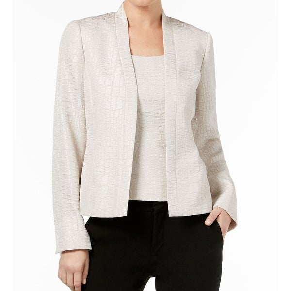 Kasper Womens Open-Front Shimmer Jacquard Jacket