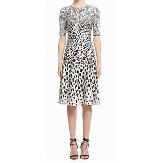 St John NEW White Womens Size 8 Multi-Spot Jacquard Sheath Dress