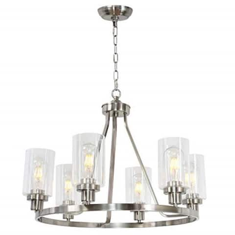 6 light island glass round chandelier with rubbed nickel finish