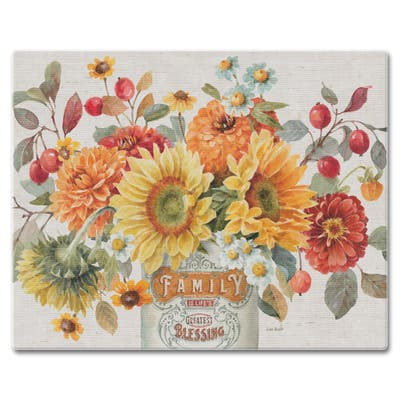 "Counterart Glass Cutting Board Counter Saver 12""x15"" , Autumn In Bloom - 12x15x.199"