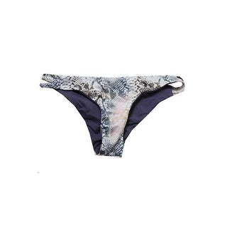 Roxy Juniors Greys Multi Snake Print Strappy Bikini Bottom L