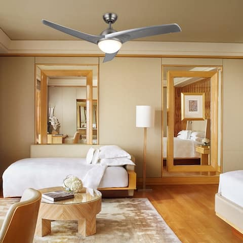 """CO-Z 52"""" 3-Blade Ceiling Fan with Reversible Motor and Remote Control- Brushed Nickel or Finish White"""