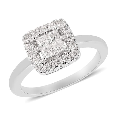 Shop LC 925 Sterling Silver Moissanite Cluster Engagement Ring