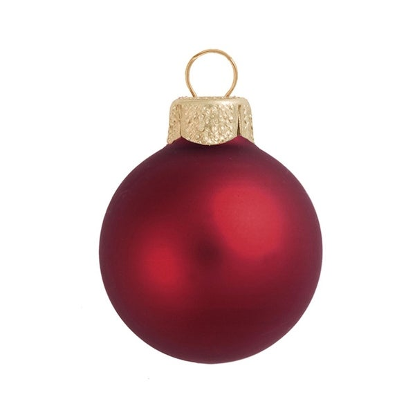 "40ct Matte Burgundy Red Glass Ball Christmas Ornaments 1.25"" (30mm)"