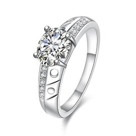 Petite Classic Crystal Laser Cut Ingrain Ring