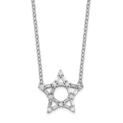 Sterling Silver Rhodium-plated Cubic Zirconia Star with 2-inch Extension Pendant Necklace by Versil