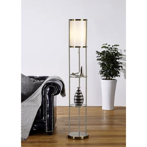 Artiva USA Exeter Antique Brass Shelf Floor Lamp - Gold/Satin Brass