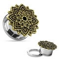Manish Lotus Flower 316L Surgical Steel Screw Fit Tunnel (Sold Individually) - Thumbnail 0