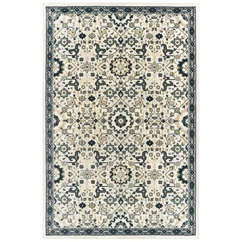 Gracewood Hollow Anetsi Textured Traditional Ivory and Navy Area Rug
