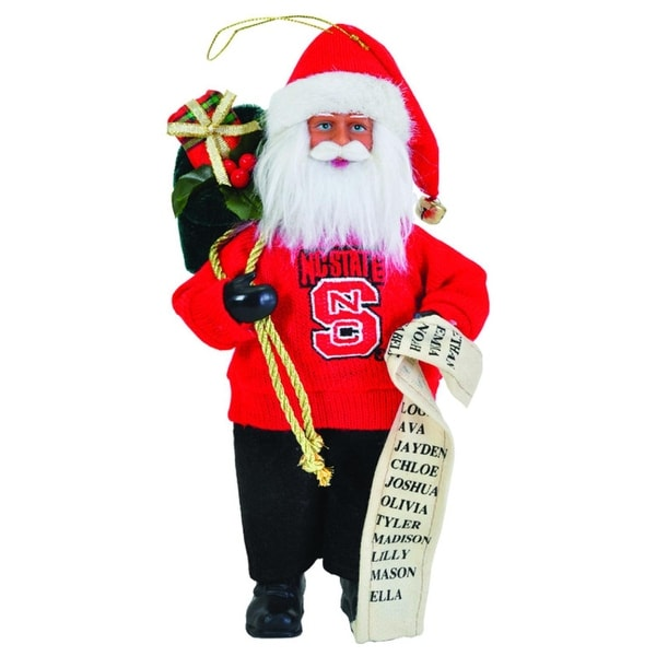 "9"" NCAA North Carolina State Wolfpack Santa Claus with Good List Christmas Ornament - RED"