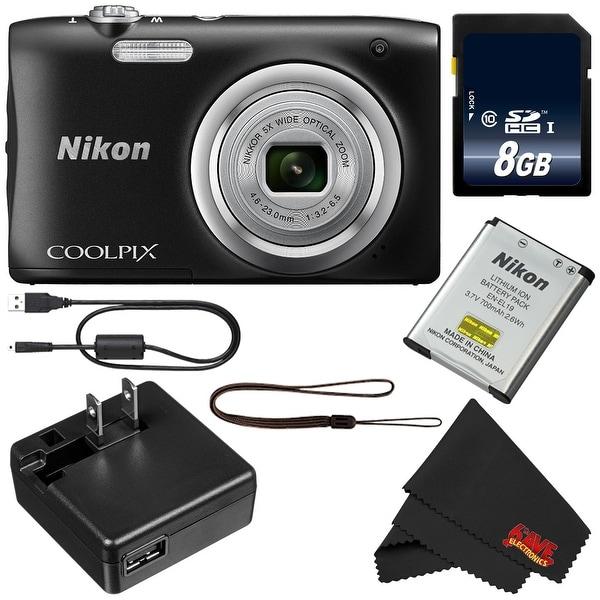 Nikon Coolpix A100 Digital Camera (Black) + 8GB SDHC Card Bundle