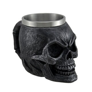 Immortality Drink Charcoal Gray Skull Mug W/ Stainless Steel Liner