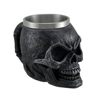 Set of 2 Immortality Drink Charcoal Gray Skull Mug W/ Stainless Steel Liner