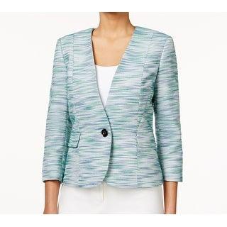 Kasper NEW Green Blue Tweed Women's Size 14 Single Button Jacket