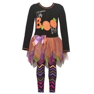 "Bonnie Jean Little Girls Black ""FaBOOlous"" Pumpkin Halloween Outfit"